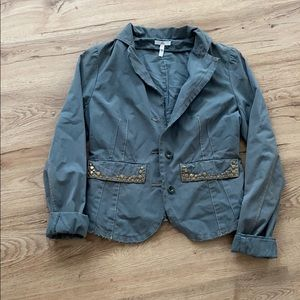 Joie Green Peacock utility light weight jacket